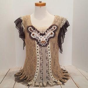 Pretty Angel lacey Boho tunic top Large